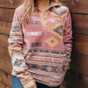 SIMPLY SOUTHERN Aztec Western Fleece Pullover XL